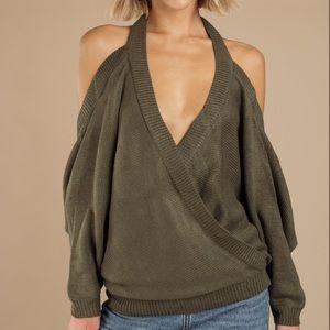 NWT TOBI Evana Halter Olive Sweater Open Back SM